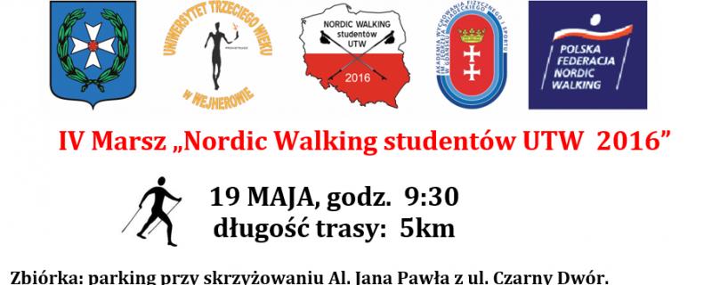 """IV Marsz """"Nordic Walking studentów UTW  2016"""""""