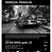 Plakat informacyjny o wernizażu, czarno-białe zdjęcie czołgu