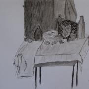 Czabańska Bożena<br /> - <em> Martwa Natura</em> <br />(rysunek piórkiem, lawowany)