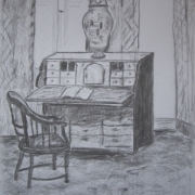 Lena Sowińska - Wnętrze muzeum (rysunek węglem)