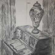 Alicja Szymkowicz - Wnętrze muzeum (rysunek węglem)