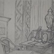 Olcha Średzińska - Wnętrze muzeum (rysunek węglem)
