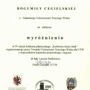 Dyplom Pani Bogumiły Cegielskiej